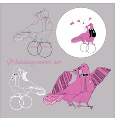 Set of wedding kissing doves with tex vector