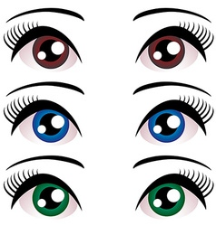 Set of women eyes with long eyelashes blue brown vector