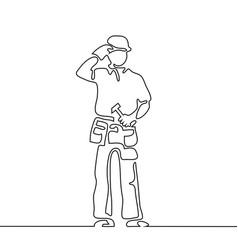 standing builder man holding hammer vector image vector image