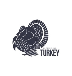 Stylized turkey silhouette graphic logo template vector image vector image
