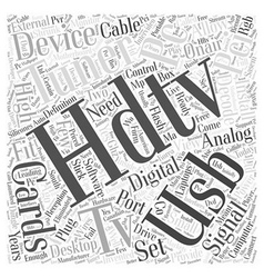 Usb hdtv tuner word cloud concept vector