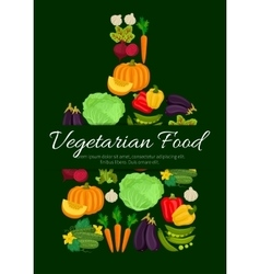 Vegetarian vegetables harvest poster vector