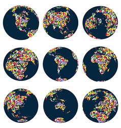 World globes with continents made of world flags vector image