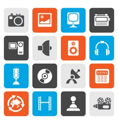 Flat media and household equipment icons vector