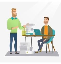 Employee receiving lot of paperwork vector