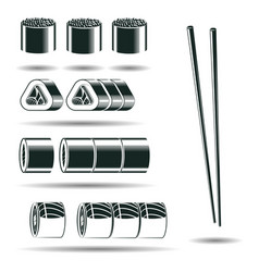 Monochrome sushi signs vector