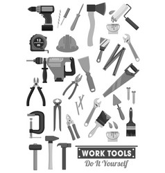 Repair and construction work tools icons vector