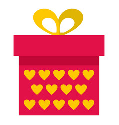 pink gift box with yellow hearts icon isolated vector image