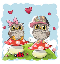 two cute cartoon owls on mushrooms vector image
