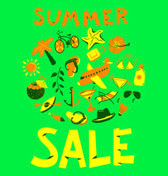 Summer sale lettring shopping background with vector