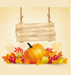 Autumn background with leave and vegetable and vector