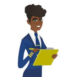 young stewardess holding clipboard with documents vector image