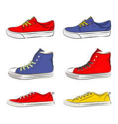 a set of sports shoes vector image