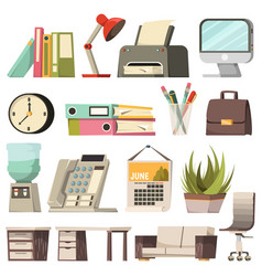 Office orthogonal icon set vector