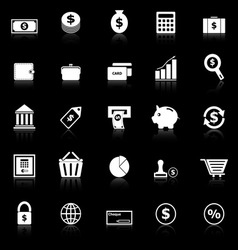 Money icons with reflect on black background vector image
