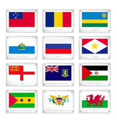 Twelve countries flags on metal texture plates vector