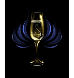 Wineglass of champagne vector
