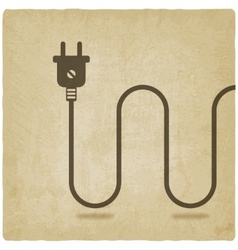 Electric wire with plug old background vector