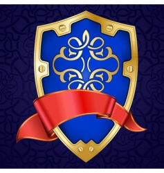 gold shield with ribbon vector image