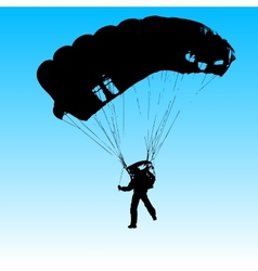 Parachutist jumper in the helmet after the jump vector