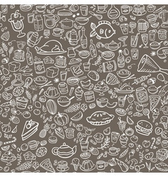 Doodle food icons seamless background vector