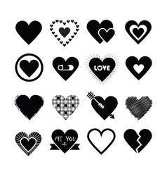 Valentines day heart icon set vector