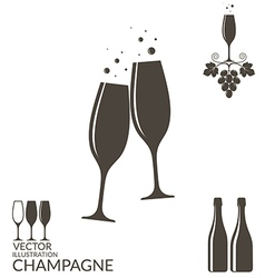 Champagne isolated wineglasses and bottles vector