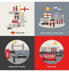 England culture travel 4 flat icons vector