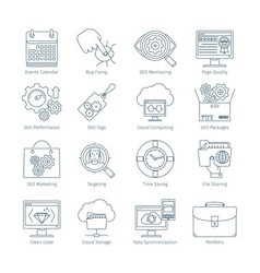 Modern seo thin line icons 2 vector