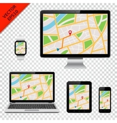 Modern technology devices with gps map on screen vector