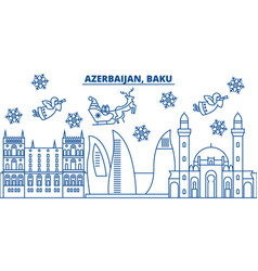 azerbaijan baku winter city skyline merry vector image