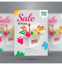 Back to school sale flyer template vector
