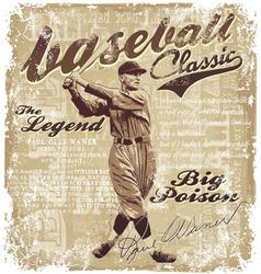 Baseball Lagend waner vector image vector image
