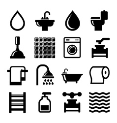 Bathroom and Water Icons Set vector image
