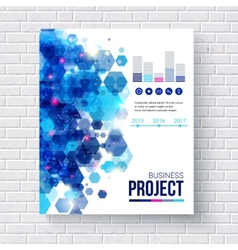 Blue design business report with charts vector