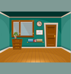 Cartoon flat interior office room in turquoise vector