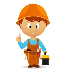 cartoon handyman with tools belt and toolbox vector image