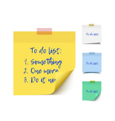 color realistic sticky notes vector image vector image