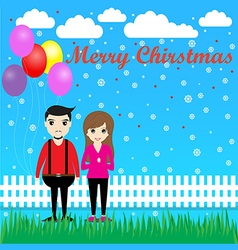 Couple with balloons in Christmas vector image vector image