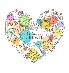 Crafting doodle heart vector