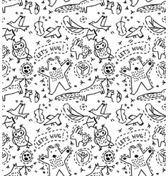 Cute animal wild objects seamless pattern vector image vector image