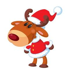 deer Santa funny vector image