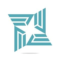 design letter e trapeziodal shuriken symbol vector image vector image