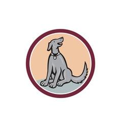Dog sitting looking up cartoon vector