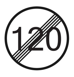 End maximum speed limit 120 sign line icon vector
