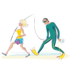 fishing vector image vector image