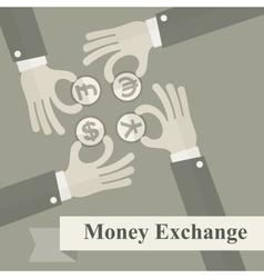Hand exchange money signs vector image vector image
