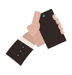 Hand holding smartphone for selfie cam vector