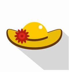 hat with flower icon flat style vector image vector image