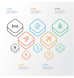 Journey outline icons set collection of building vector